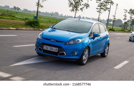 Ha Noi, Viet Nam - Aug 25, 2018: Ford Fiesta car on the road in test drive in Vietnam