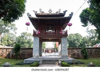 Ha Noi, Viet Nam - December 8, 2016 : Temple of Literature, this is the first university of Vietnam. Van Mieu is symbol of Hanoi - Vietnam