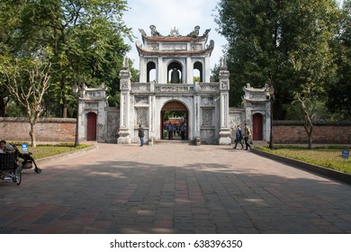 Ha Noi, Viet Nam - December 8, 2016 : Temple of Literature, this is the first university of Vietnam. Van Mieu is symbol of Hanoi - Vietnam