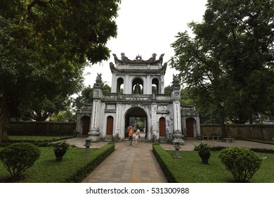 Ha Noi, Viet Nam - October 5, 2016 : Temple of Literature, this is the first university of Vietnam. Van Mieu is symbol of Hanoi - Vietnam