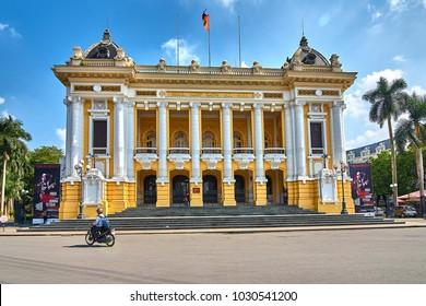 Ha Noi, Vietnam-28 November 2014:Font view of Hanoi Opera House in Hanoi capital