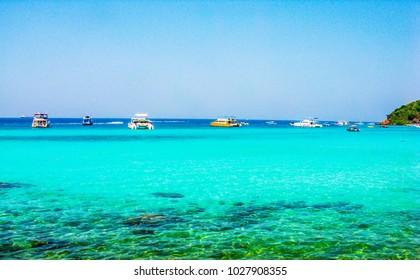 Haad Tien Beach at Koh Larn Island of Pattaya city in Chonburi Thailand.