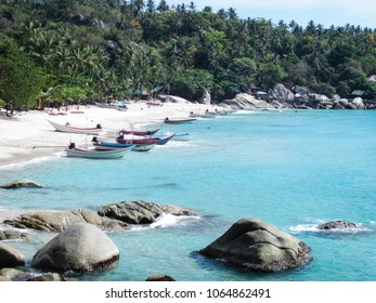 HAAD YUAN, KOH PHANGAN April 20 2015 Remote Haad Yuan beach on Koh Phangan Island in the gulf of Thaialnd, accesible only by taxi boats from nearby bays.
