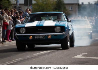 Haapsala, EE - JUN 18, 2016: Chevrolet Camaro SS 1967 burn out
