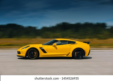 Haapsalu, Estonia - 13 JUN, 2019: American Car Beauty Show Chevrolet Corvette C7 in motion at the highway