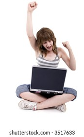 Haapy teen girl with laptop