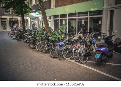 Haarlem, Holland - 08.05.2018. Street view of the calm city on Sunday afternoon.