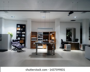 Haarlem, Netherlands - Aug 16, 2018: Furniture store interior designer buro with multiple accessories ready to welcome clients to decorate their homes