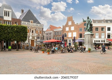 Haarlem, The Netherlands, August 3, 2021; Grote Markt with the statue of Laurens Janszoon Coster in the center of the city.
