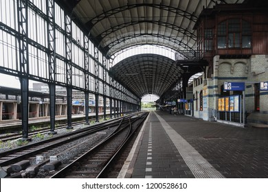 Haarlem, Netherlands, August 5, 2016:  The famous Haarlem train station with its elegant Art Nouveau architecture of glazed brick, natural stone ornaments and the gleaming lacquered wooden  buildings