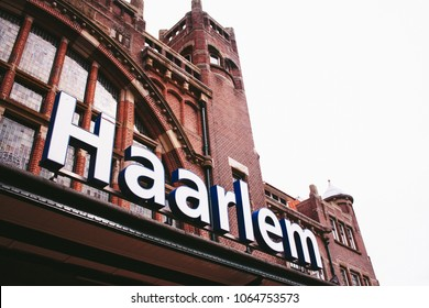 HAARLEM, THE NETHERLANDS - CIRCA  SEPTEMBER 2009: The train station of Haarlem, one of the oldest train stations in the Netherlands.