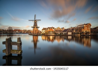 Haarlem, Netherlands January 22 2021: View on the famous Adriaan Windmill in the center of the city of Haarlem