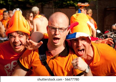HAARLEM, NETHERLANDS - JULY 6: Netherlands fans celebrate as their football team went into the final of 2010 World Cup July 6,2010  in Haarlem, Netherlands.