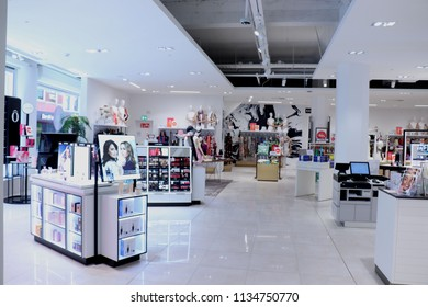 Haarlem, the Netherlands - July 8th 2018: perfume and cosmetics department at Hudson's Bay