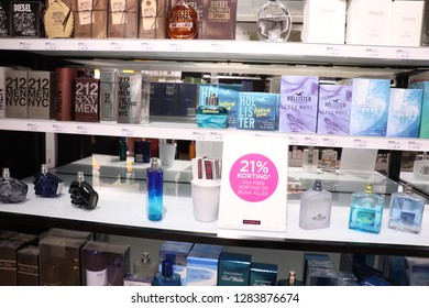 Haarlem, the Netherlands - July 8th 2018: Mens fragrances on display in a luxurious perfume shop