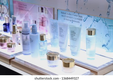 Haarlem, the Netherlands - July 8th 2018: Estee Lauder skin care products on display in a luxurious department store