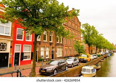 HAARLEM, NETHERLANDS - JUN 2, 2015: Historic centre of Haarlem, Netherlands. Haarlem is the capital of the province of North Holland