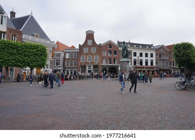 Haarlem, The Netherlands - May 30, 2019; The monumental facades of the buildings on the Grote Markt of Haarlem