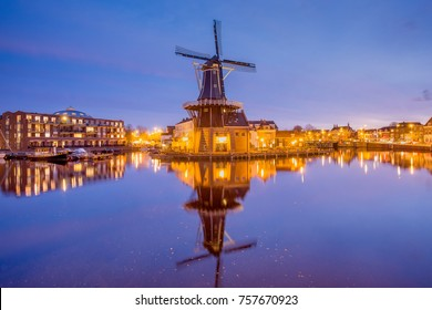 HAARLEM, THE NETHERLANDS – NOVEMBER 19, 2017 - Adriaan Windmill in Haarlem the Netherlands. The classic Dutch city of cobbled streets, historic buildings, grand churches and canals