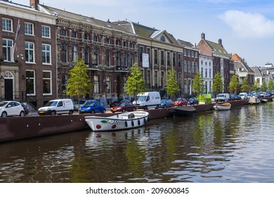 Haarlem, Netherlands, on July 11, 2014. Typical urban view. Old houses on the bank of the channel
