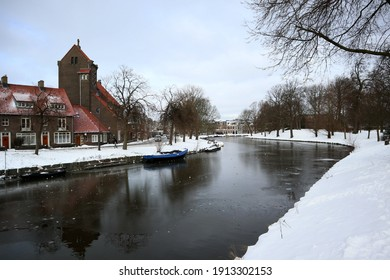Haarlem, Netherlands-February 9 2021:  Netherlands is covered in snow after two days of heavy snow storm, an a phenomenon that happened last 10 years ago.