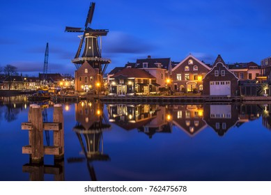 Haarlem at night, near Amsterdam, the Netherlands