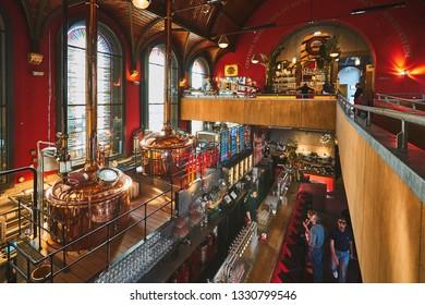HAARLEM/HOLLAND - April 18, 2018: Jopenkerk brewery interior in Haarlem. Old church became beer restaurant and brewery.