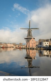 HAARLEM-JANUARY 2 2021. The river `Spaarne runs through the city of Haarlem and is the reason why people chose to settle here. Back in the day, it was a major transport route.