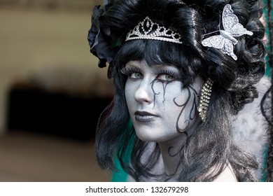 HAARZUILENS,THE NETHERLANDS - APRIL 17:Unidentified woman dressed up as witch at Fantasy Fair on April 17,2011 in Haarzuilens,Utrecht,The Netherlands.The Fair is a yearly Live Action Role Play event.