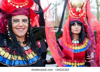 HAARZUILENS,THE NETHERLANDS - APRIL 21: Two women in colorful costumes at the yearly Fantasy Fair event on April 21,2012 in Haarzuilens,Utrecht The Netherlands.