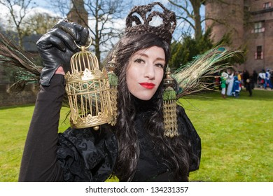 HAARZUILENS,THE NETHERLANDS - APRIL 21: Unidentified women posing in black dress at the yearly Fantasy Fair event on April 21,2012 in Haarzuilens,Utrecht The Netherlands.