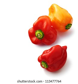 Habanero peppers on white background