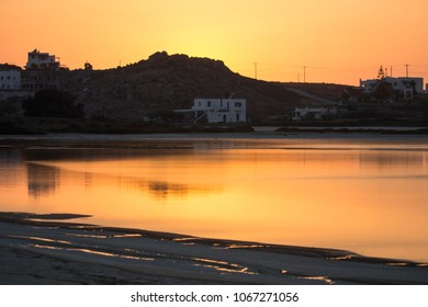 Habitations and Calm Sea Water in Naxos, Greece