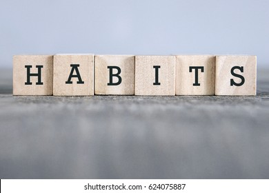 HABITS word made with building blocks