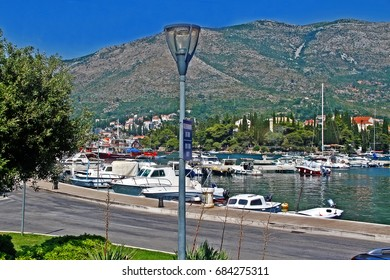 Habour in Cavtat and Adriatic Sea, Cavtat, Dubrovnik-Neretva County, Croatia
