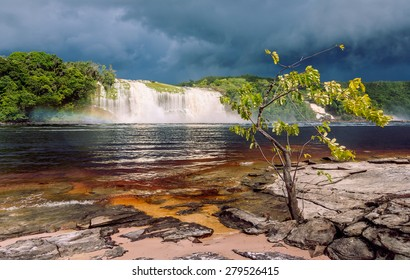 Hacha waterfall in the lagoon of the Canaima national park before the storm - Venezuela, Latin America
