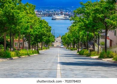 Hachimanzaka Slope at Hokkaido Hakodate Japan