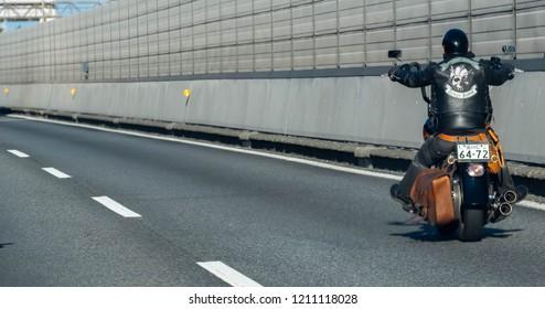 HACHIOJI, JAPAN - OCTOBER 20TH, 2018. Harley Davidson rider riding in Chuo Expressway, Japan.