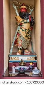 Hacienda Heights, CA, USA - March 23, 2018: Closeup of  Qui Lan Bodhisattva divine warrior statue at Bodhisattva hall of Hsi Lai Buddhist Temple.
