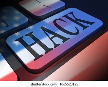 Hack Keyboard Key Showing Russian Hacking 3d Illustration. American Democratic Political Campaign Hacked By Online Cyber Criminals.