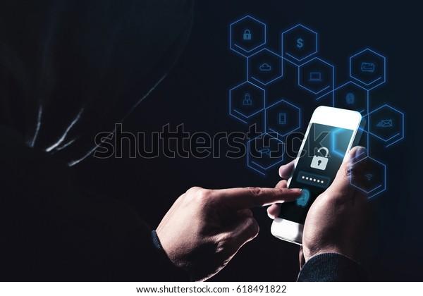 Hack Mobile Phone Data Phishing Malwarehoodie Stock Photo