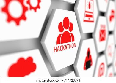Hackathon concept cell blurred background 3d illustration