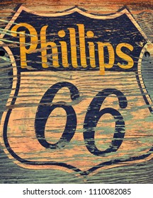Hackberry, Arizona, Usa - July 24, 2017:  Phillips 66 gas station sign and logo. The Phillips 66 Company is an American multinational energy company. Located along the entire route 66.