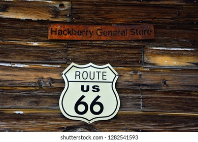 Hackberry, Arizona, Usa - July 24, 2017: The famous historic route 66 highway with the old general store is visited by people from all of the world.