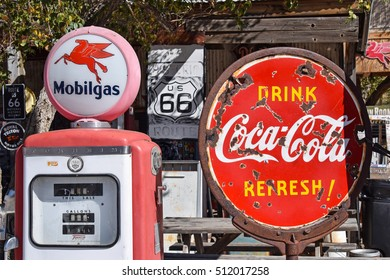 HACKBERRY, ARIZONA, USA - MARCH 21, 2016: Old gas pump and old coca-cola sign at Hackbarry general store. The old general store on the historic Route 66 is visited by people from all of the world.