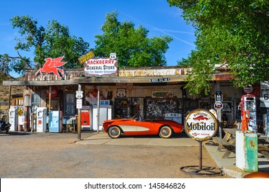 HACKBERRY, AZ - MAY 15: A classic corvette outside the antique Hackberry General Store  on May 15, 2013 recalls the atmosphere of the 1950s.