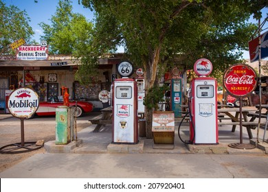 HACKBERRY, AZ - MAY 8, 2014: Entrance to landmark Hackberry General Store on Route 66 in Arizona. This roadside service as a museum for historic Route 66 memorabilia.