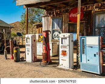 Hackberry, AZ, USA - July 12, 2016: Antique Phillips Gas Pump on Route 66 at Hackenberry General Store