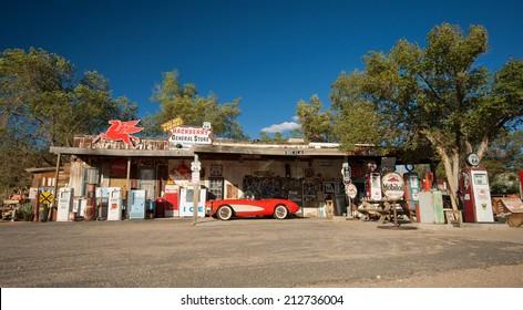 HACKBERRY, USA - SEPTEMBER 25, 2011: historic red Chevrolet Corvette at Hackberry General Store on Route 66, Hackberry, Arizona, United States of America, sept 25 2011