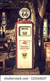 HACKBERRY, USA - SEPTEMBER 25: old gas pump at a historic gas station at Route 66, Hackberry, Arizona, United States of America, sept 25 2011